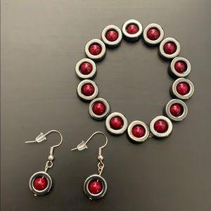Hematite/red garnet bead bracelet/earrings set